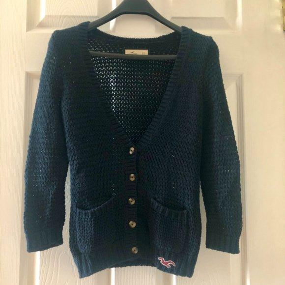 Hollister Navy Cardigan Sweater - Size XS